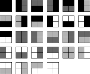 list of 4-grey 2×2 pixel blocks